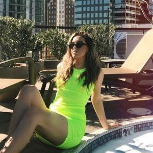 neon boohoo dress